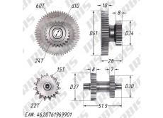 Шестерни электростартера 166FMM SH(XY) (CB200-250); TTR250R 2016