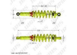 Амортизатор задний (L-330mm,D-10mm,d-10mm) масляный, желтый