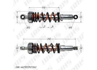 Амортизатор задний (L-310mm,D-12mm,d-10mm) (внутр пружина)