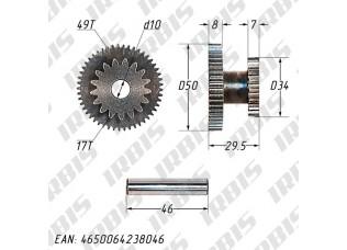 Шестерня электростартера промежуточная 152QMI, 157QMJ
