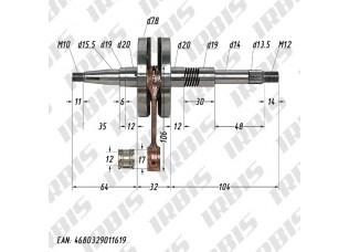 Вал коленчатый в сборе 2Т AF34/35 (32,5mm) полнощекий MALOSSI 538417