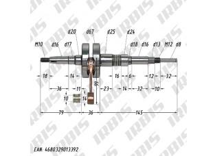 Вал коленчатый в сборе 2Т Suzuki pin10 полнощекий MALOSSI 538631