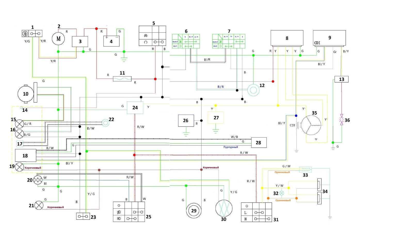 Схема электропроводки снегохода тайга